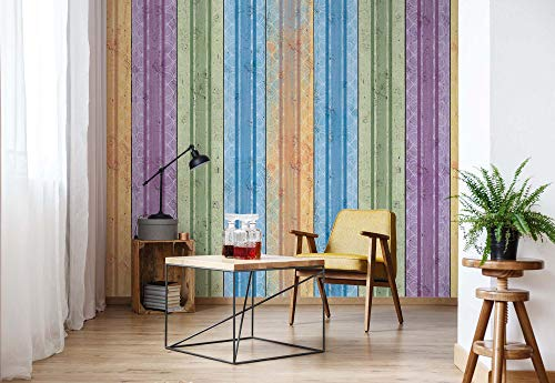 Wallsticker Warehouse Streifen Holzbalken Fototapete - Tapete - Fotomural - Mural Wandbild - (1535WM) - XXL - 368cm x 254cm - Papier (KEIN VLIES) - 4 Pieces