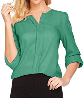 MK988 Women's Stylish Chiffon Long Sleeve V Neck Solid Color Plus Size Chiffon Blouse Shirt Top