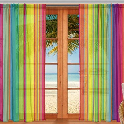 マキク(MAKIKU) レースカーテン 遮光 断熱 遮熱 ミラーレースカーテン レインボー 虹色 ドアカーテン おしゃれ UVカット 薄手 目隠し 幅140cm×丈200cm 2枚組