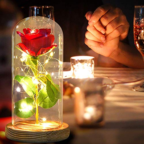 Mom Gifts Glass Dome Red Rose on Wood Base, Warm Light Ambient Light, Red Silk Roses Red Petals, Multi Use for Home/Office or Home Decorations, Gift for Wife Women Mother Mom Dad Mommy