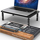 Deluxe Metal Laptop Stand for Desk - Adjustable 14' x 9' Black Monitor Stand Riser - Portable Cooling for Laptops or Screens - The Perfect Home Office Organizer for Printers, Gaming and Accessories