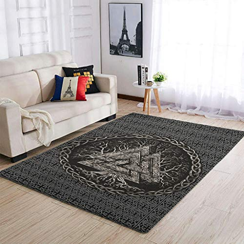 XunYun Area Rugs Viking Valknut and Tree Of Life - Alfombra antideslizante para dormitorio o cuarto de bebé, 50 x 80 cm, color blanco