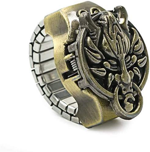 Reloj de cuarzo estilo vintage con diseño de anillo con diseño de dragón para hombre y mujer, ajustable, elástico, perfecto