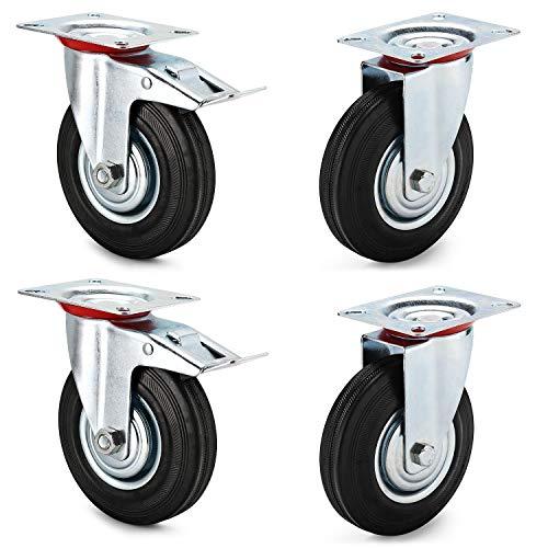 AMIGOB 4 Ruedas de Transporte 125mm, 2 Ruedas Giratorias + 2 Ruedas Giratorias con Freno Capacidad Total 300 kg