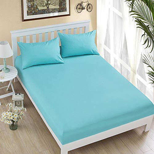 HPPSLT colchón Acolchado, antialérgico antiácaros, La sábana Cubierta de Polvo Antideslizante-Agua Azul_200x220cm