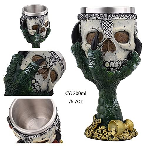 2 Piezas Horrible Resina Acero Inoxidable cráneo Copa Retro Garra Vino Vidrio gótico cóctel Gafas Lobo Whisky Taza Fiesta Barra de Bebida 719 (Color : Green Devil Hand)