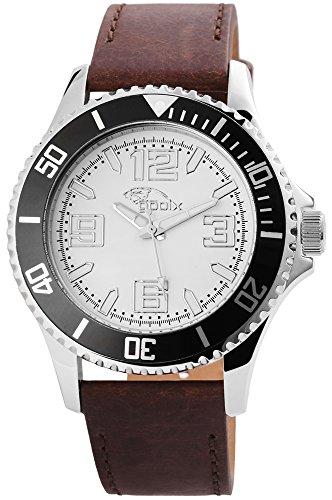 gooix GX0600531B Uhr Herrenuhr Lederarmband Edelstahl 10 bar Analog Datum Braun