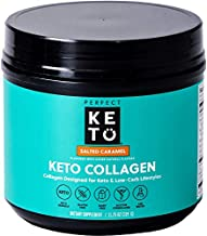 Perfect Keto Collagen Peptides Protein Powder with MCT Oil - Grassfed, GF, Multi Supplement, Best for Ketogenic Diets, Use as Keto Creamer, in Coffee and Shakes for Women & Men – Salted Caramel
