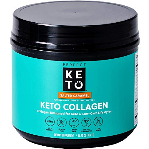 Perfect Keto Collagen Peptides Protein Powder with MCT Oil - Grassfed, GF, Multi Supplement, Best for Ketogenic Diets, Use as Keto Creamer, in Coffee and Shakes for Women & Men