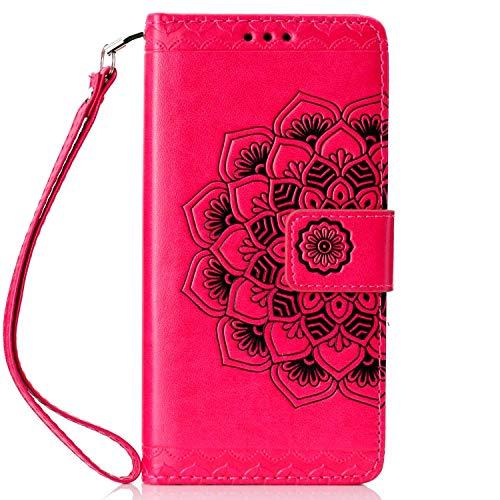 Sonwo - Carcasa para Samsung Galaxy J6 Plus 2018, diseño de mandala de flores con cierre magnético, ranuras para tarjetas rojo rosa rojo Talla:Galaxy J6 Plus 2018