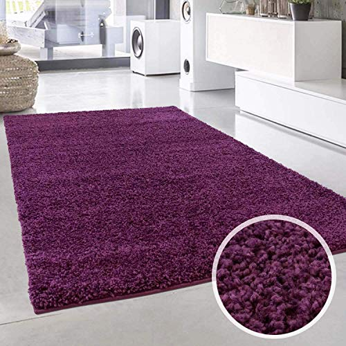 ayshaggy Shaggy Teppich Hochflor Langflor Einfarbig Uni Lila Weich Flauschig Wohnzimmer, Größe: 100 x 200 cm