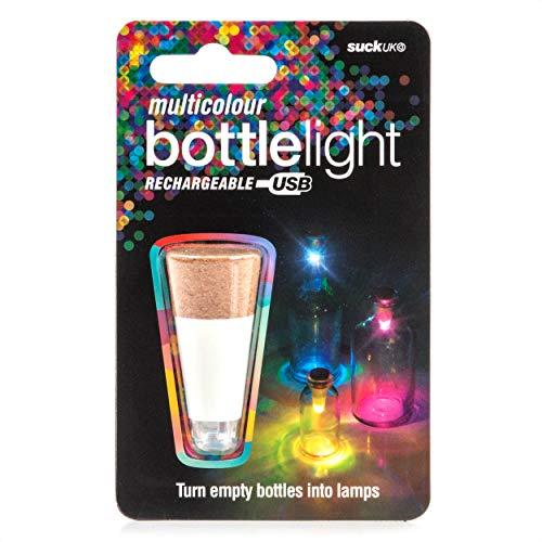 Suck UK Official Rechargeable USB LED Bottle Light / Aufladbares USB LED Flaschen-Licht – wiederverwendbare / Dekoration für Heim und Garten - Mehrfarbig