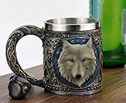 Atlantic Collectibles Alpha Gray Wolf Celtic Tribal Magic Resin 16oz Mug With Stainless Steel Rim Figurine
