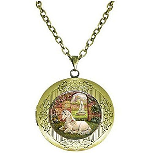 Collier avec médaillon licorne, bijoux de licorne, jardin secret, contes de fées, mythologie