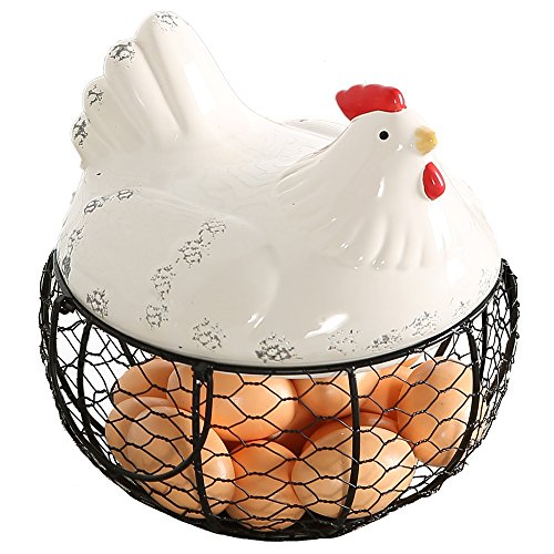 Black Metal Mesh Wire Egg Storage Basket with White Ceramic Farm Chicken Top and Handles