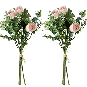 UUPP 2 Pcs Artificial Rose Baby Breath Flowers with Eucalyptus Leaves Bridal Wedding Bouquet for Home Garden Party Wedding Decoration, 13.8 inches