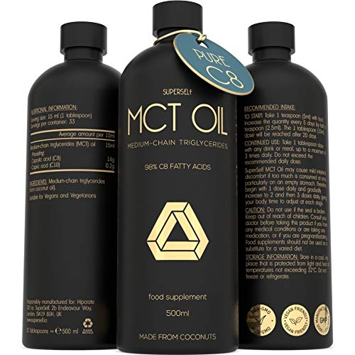 MCT Oil 500ml – High Potency Pure C8 - Premium Keto Diet Supplement - Made from 100% Sustainably Sourced Coconuts - Boosts Ketones - Suitable for Bulletproof Coffee, Ketogenic, Vegan & Low Carb Diet