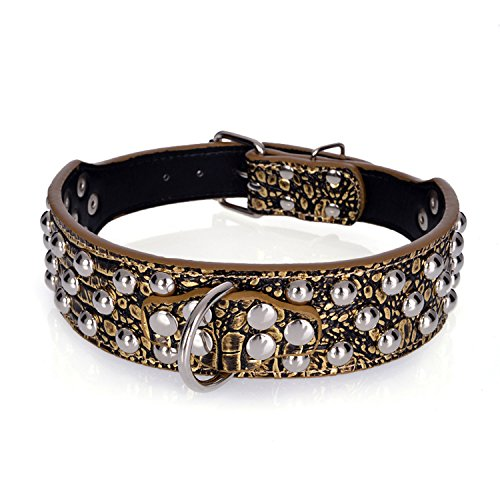 Rachel Pet Products 3 Rows Silver Rivets Studded Leather Dog Collars for Medium/Large Dogs, Gold Brown, XS
