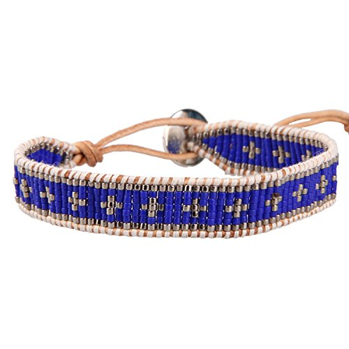 KELITCH Leder Armbänder Zum Männer Frau Blau Samen Wulstig Single Wickeln Armband Auf Beige Leder