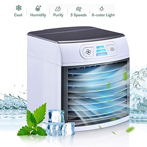 Personal Air Cooler Persönlicher Desktop-Lüfter Mini-Klimaanlage 4 in 1, Luftbefeuchter, Luftkühler Conditioner mit USB für Schlafzimmer, Zuhause, Auto, Büro