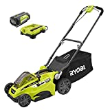 Ryobi 16' 40-Volt Lithium-Ion Cordless Battery Walk Behind Push Lawn Mower with 4.0 Ah Battery and Charger Included RY40140