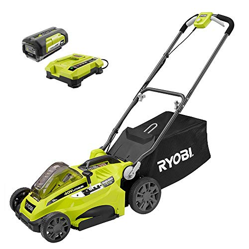 """Ryobi 16"""" 40-Volt Lithium-Ion Cordless Battery Walk Behind Push Lawn Mower with 4.0 Ah Battery and Charger Included RY40140"""