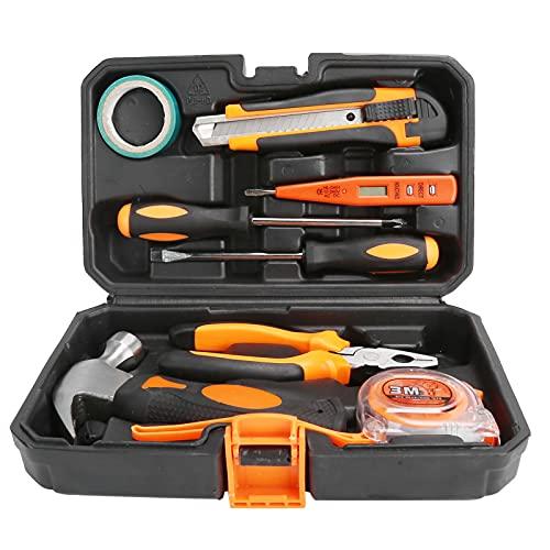 Kit de herramientas de reparación, 9Pcs / Set Kit de herramientas de reparación del hogar con caja para el hogar para la oficina para el garaje para el maletero del coche