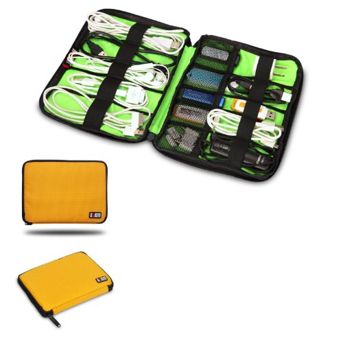 BUBM Universal Cable Organizer Electronics Accessories Case USB Drive Shuttle (Yellow)