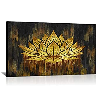 Abstract Lotus Canvas Wall Art Water Lily Flower Picture Print Artworks Gold and Black Floral Painting Poster for Bedroom Living Room Home Wall Decor Stretched and Framed Ready to Hang 20 x36