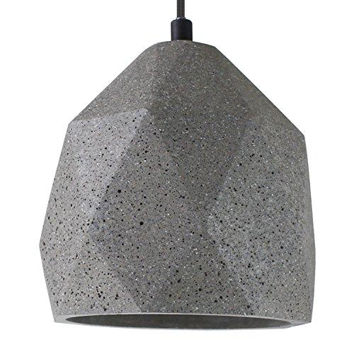 Beton-Lampe Beton-Leuchte LED E27 Pendel-Lampe Hänge-Leuchte BOSTON (Farbe: Beton-Dunkel) Vintage Industrieleuchte Wohnzimmerlampe Modern Betonfassung mit Textilkabel - Ohne Leuchtmittel