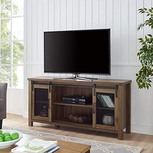 Walker Edison Furniture Farmhouse Metal Mesh Barndoor and Wood Universal Fireplace Stand or TV's up to 55' Flat Screen Living Room Storage Entertainment Center, 58 Inch, Dark Walnut