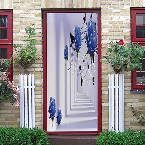 N / A 3D White Space Door Wallpaper Modern Home Decor Door Sticker Peel & Stick Poster Kitchen Bedroom Decoration Mural A20 86x200cm