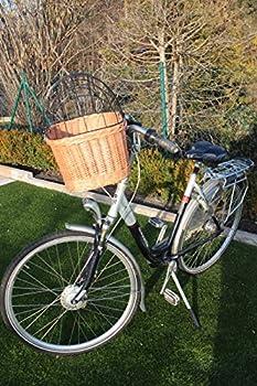 Marcus Panier de vélo pour chien en osier avec grille métallique et coussin XL ou XXL Panier de guidon pour vélo (XL avec coussin)