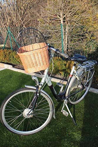 Marcus Hundefahrradkorb für Fahradlenker aus Weide mit Metallgitter und Kissen XL oder XXL Natur Weidenkorb Lenkerkorb für Fahrrad (XL mit Kissen)