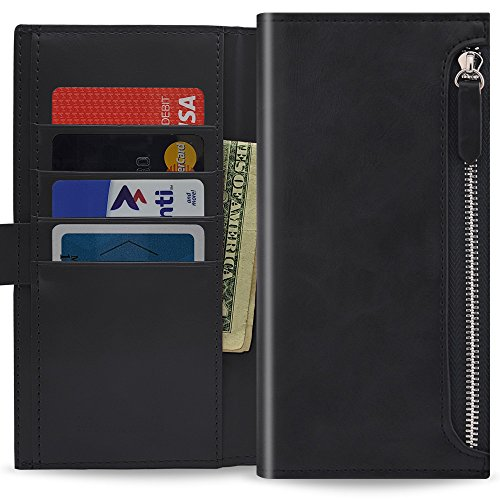 Qoosan LG X Charge Zipper Wallet Case, Leather Flip for LG X Power 2/LG Fiesta LTE/LG LV7, Black