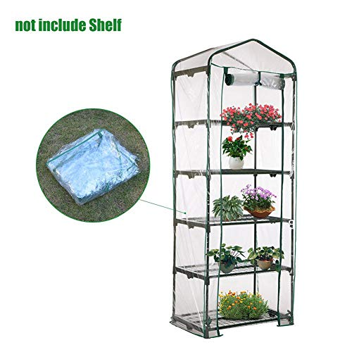 5-Tier Mini Greenhouse Portable Plants Green House Cover, Plastic PVC Clear Outdoor Gardening Cover Roldeur, 69x49x187cm (ALLEEN PVC COVER)