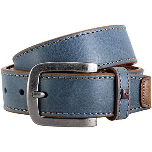 Pierre Cardin Mens leather belt/Mens belt, light blue/jeans, 70120, Größe/Size:120, Farbe/Color:bleu