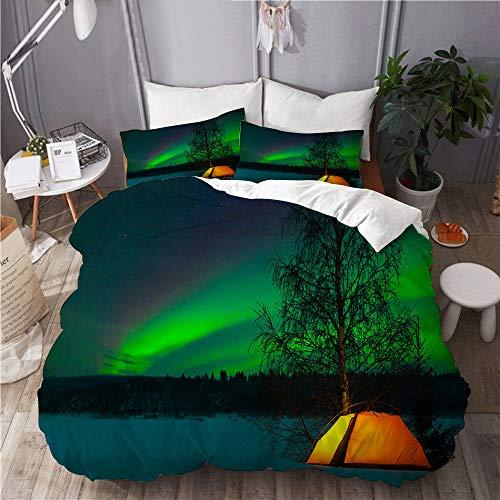 MAYBELOST Bettwäsche-Set,Mikrofaser,Nordlicht-Campingzelt unter Magnetfeld-Naturbild,1 Bettbezug 240x260 + 2 Kopfkissenbezug