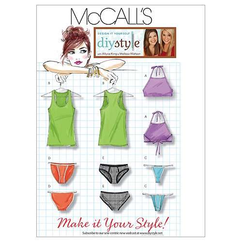 McCall 's Patterns m6128 Misses 'Tops und Panty, DD (12-14-16-18)
