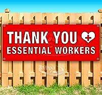 "Thank You Essential Workers 13オンス 高耐久ビニールバナーサイン メタルグロメット付き 店舗 広告 旗 30"" x 80"""