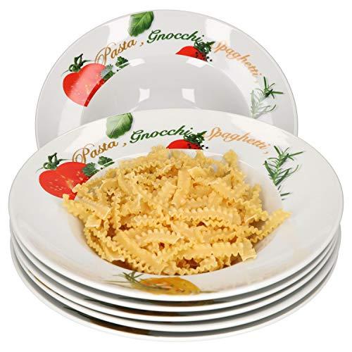 Van Well 6er Pastateller-Set Milano mit Aufdruck I Ø 27 cm I tiefer Porzellan-Teller I Gastro-Geschirr I Nudeln, Pasta I Gnocchi, Spaghetti, Fusilli, Makkaroni, Penne, Ravioli