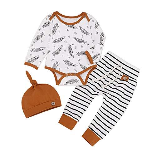 WANGYUEGUANG bébé Combinaison bébé Fille garçon Ensemble 3 pcs Mode Plume Imprimer Body À Manches Longues + Pantalon rayé Chapeau Tenues Ensembles