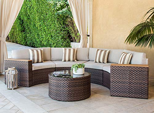 SOLAURA Outdoor 5-Piece Sectional Furniture Patio Half-Moon Set Brown Wicker Sofa Beige Cushions & Sophisticated Glass Coffee Table
