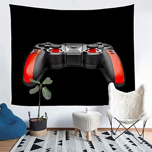Gamepad - Manta de pared para niños y niñas, diseño de videojuegos, para colgar en la pared, ultra suave, moderno, mando de juego, decoración de pared, arte negro y rojo, grande 58 x 79