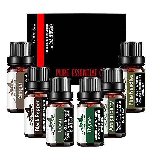 Mumianhua 100% Set di olio essenziale puro 10ml, 6-Pack Fragranze Olio Set Olio per aromaterapia (cedro, zenzero, pepe nero, aghi di pino, ginepro, timo)