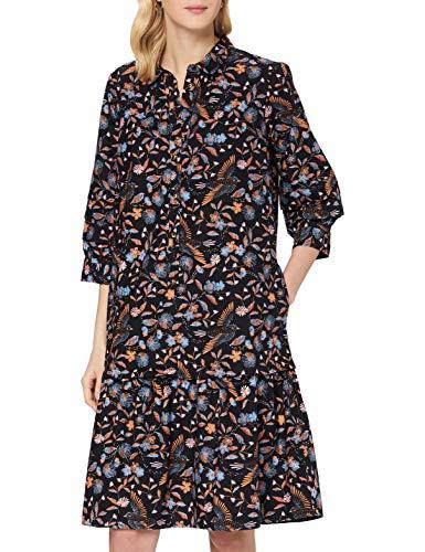 Noa Noa Damen Organic Flower Bird Dress Short Sleeve,Knee Length Lässiges Kleid, Schwarz, 44