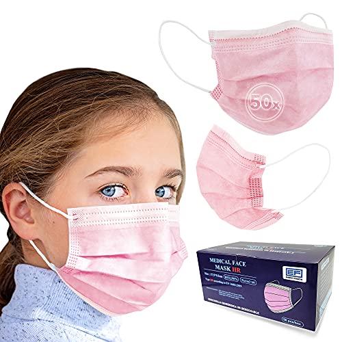 ENERGY FUSION 50 Mascarillas Quirúrgicas rosa Talla pequeña Tipo IIR Certificadas CE, Mascarillas homologadas, 3 capas, mas frescas y comodas que las FFP2 (ParaNiña)