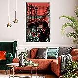Cuadro En Lienzo Decoracion 3 Piezas HD Imagen Impresiones En Lienzo Trompetista de jazz de Brooklyn Lienzo Grandes XXL Murales Pared 3 Paneles De Pinturas De Obras De Arte Moderno