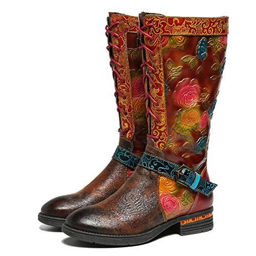 Camfosy Hoge laarzen voor dames, met hak, leer, vlak, kleurrijk, lange schacht, mooie bloem, elegant, warme voering, winterschoenen, antislip, comfortabele vintage kniehoge veterlaarzen