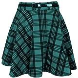 Lila Kleiderbügel für Damen, Schottenkaro, Bedruckt, kurzer Mini-Schlitz, Abnehmbarer Taillengürtel, ausgestellter Plissee-Rock (Größe XXL) (48-48), grünes Schottenkaro